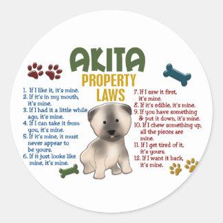 Akita Property Laws 4 Classic Round Sticker