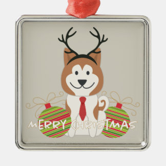 Akita Reindeer Merry Christmas Silver-Colored Square Decoration