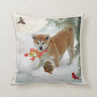 Akita snow berries pillowos cushion