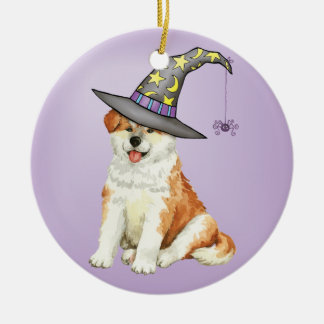 Akita Witch Round Ceramic Decoration