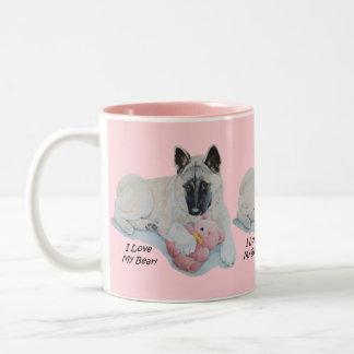 akita with pink teddy bear dog portrait art Two-Tone coffee mug
