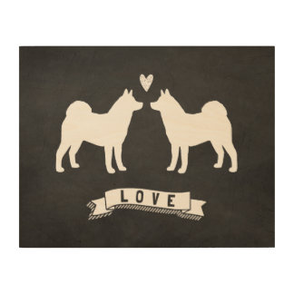 Akitas Love - Dog Silhouettes w/ Heart Wood Prints