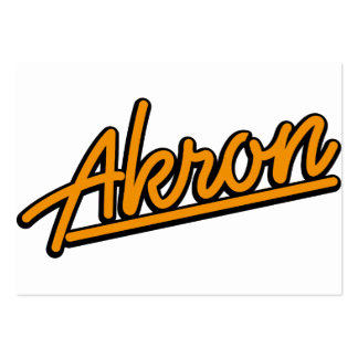 Akron in orange business card template