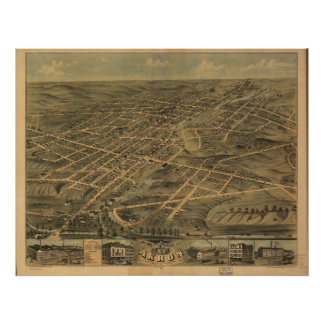 Akron Ohio 1870 Antique Panoramic Map Poster