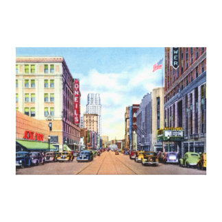 Akron Ohio Main Street 1940 Canvas Print