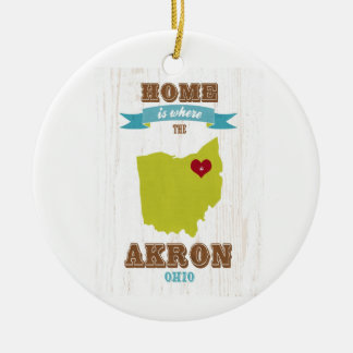 Akron, Ohio Map – Home Is Where The Heart Is Christmas Ornament