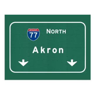 Akron Ohio oh Interstate Highway Freeway : Postcard