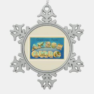 Akron Ohio OH Old Vintage Travel Souvenir Snowflake Pewter Christmas Ornament