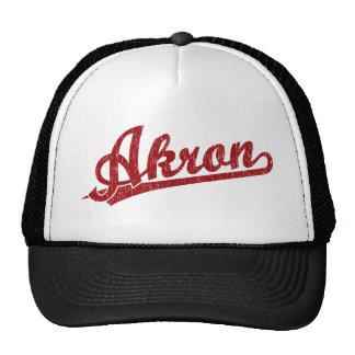 Akron script logo in red cap