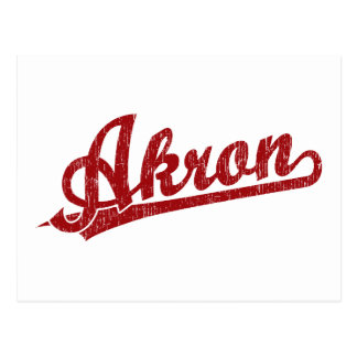 Akron  script logo in red postcard