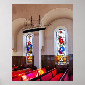 Akureyri Church Interior, Iceland, Painterly Poster