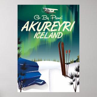 Akureyri Iceland travel poster