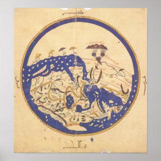 Al-Idrisi's World Map Print