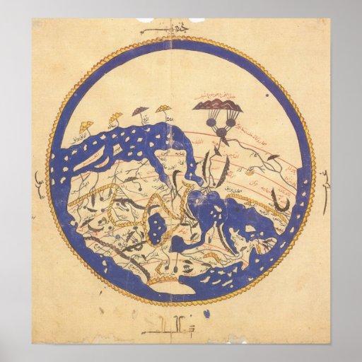 Al-Idrisi's World Map Poster
