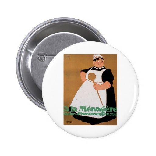 Ala Menagere Vintage Food Ad Art 6 Cm Round Badge