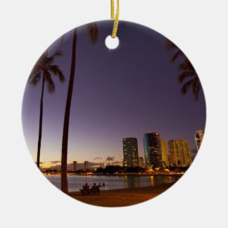 Ala Moana Beach Park, Waikiki, Honolulu 5 Christmas Ornament