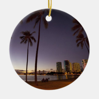 Ala Moana Beach Park, Waikiki, Honolulu Christmas Ornament