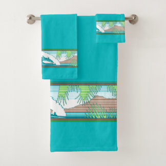 Ala Moana Diamond Head Hawaiian Surf Sign - Aqua Bath Towel Set