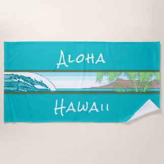 Ala Moana Diamond Head Hawaiian Surf Sign - Aqua Beach Towel