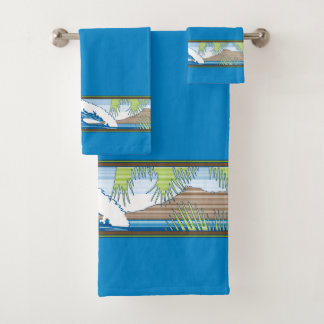 Ala Moana Diamond Head Hawaiian Surf Sign - Blue Bath Towel Set