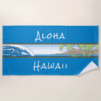 Ala Moana Diamond Head Hawaiian Surf Sign - Blue Beach Towel
