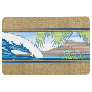 Ala Moana Diamond Head Hawaiian Surf Sign Blue Floor Mat