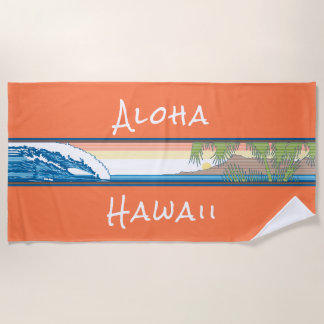 Ala Moana Diamond Head Hawaiian Surf Sign - Orange Beach Towel