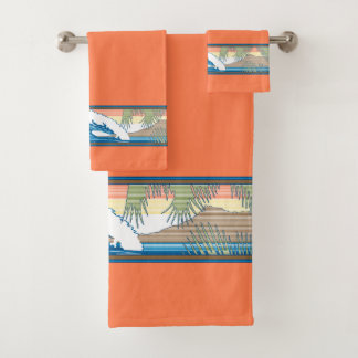 Ala Moana Diamond Head Hawaiian Surf Sign - Papaya Bath Towel Set
