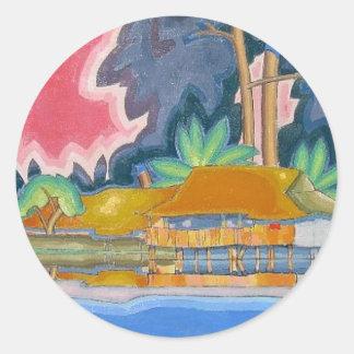 Ala Wai, Honolulu by Arman Manookian c. 1920's Round Sticker
