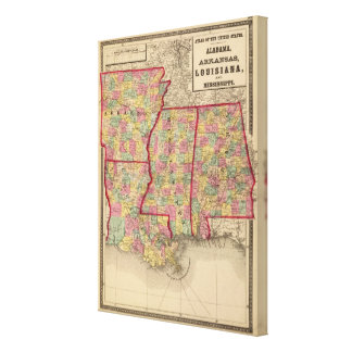 Alabama, Arkansas, Louisiana, and Mississippi Canvas Print