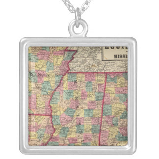 Alabama, Arkansas, Louisiana, and Mississippi Silver Plated Necklace