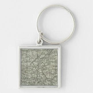 Alabama Atlas Map Silver-Colored Square Key Ring