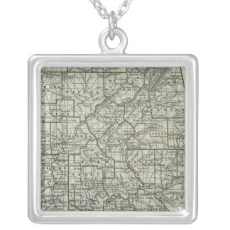 Alabama Atlas Map Silver Plated Necklace
