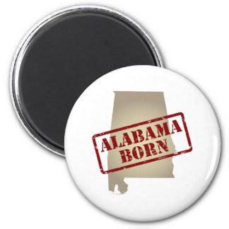 Alabama Born - Stamp on Map 6 Cm Round Magnet