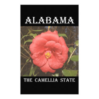 Alabama Camellia (Red) Stationery Design