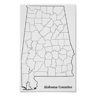 Alabama Counties Blank Outline Map Poster