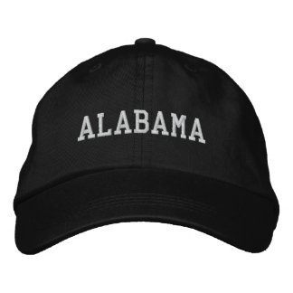 Alabama Embroidered Adjustable Cap Black Embroidered Baseball Caps