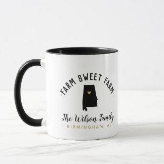 Alabama Farm Sweet Farm Family Monogram Mug
