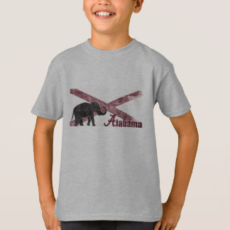 Alabama Flag, Elephant. Retro Vintage, Distressed T-Shirt