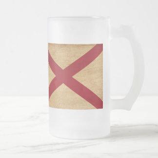 Alabama Flag Frosted Glass Mug
