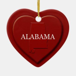 Alabama Heart Map Christmas Ornament