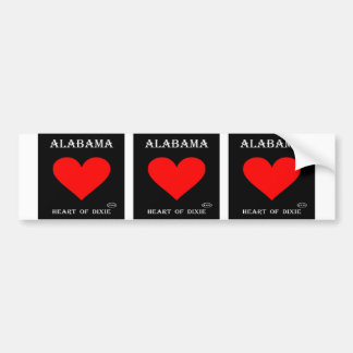 Alabama Heart of Dixie (Black) Bumper Sticker