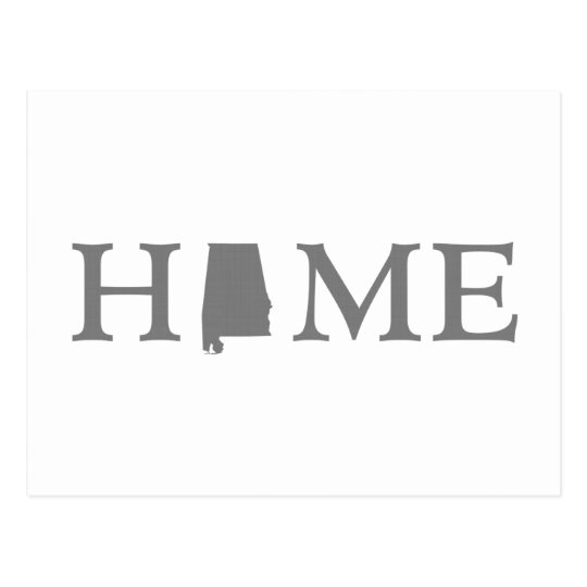 Alabama Home Word Art State Silhouette Postcard