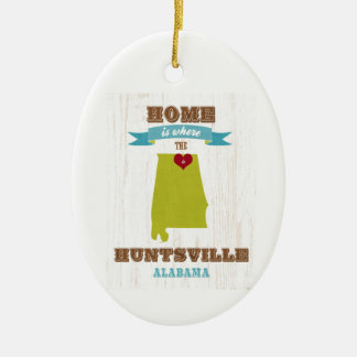 Alabama, Huntsville Map – Home Is Where Ceramic Oval Decoration