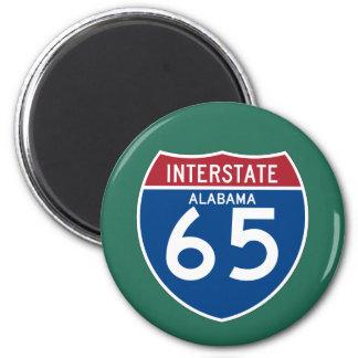 Alabama I-65 Interstate Highway Shield - AL 6 Cm Round Magnet