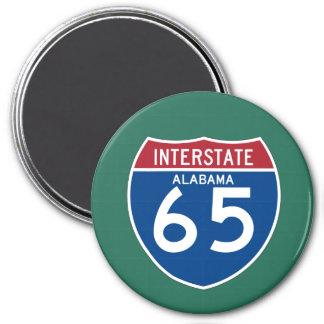 Alabama I-65 Interstate Highway Shield - AL 7.5 Cm Round Magnet