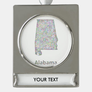 Alabama map silver plated banner ornament