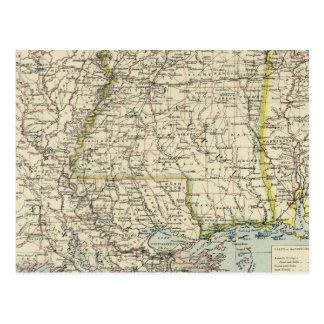 Alabama, Mississippi, Louisiana, Arkansas Postcard