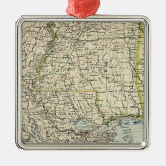 Alabama, Mississippi, Louisiana, Arkansas Silver-Colored Square Decoration