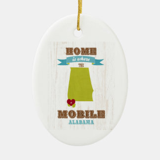 Alabama, Mobile Map – Home Is Where The Heart Is Ceramic Oval Decoration